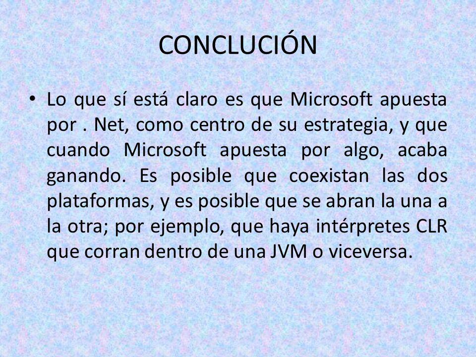 CONCLUCIÓN Lo que sí está claro es que Microsoft apuesta por. Net, como centro de su estrategia, y que cuando Microsoft apuesta por algo, acaba ganand