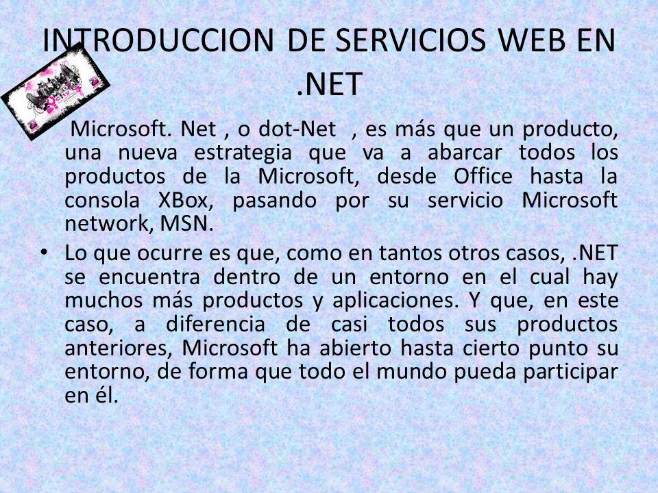INTRODUCCION DE SERVICIOS WEB EN.NET Microsoft. Net, o dot-Net, es más que un producto, una nueva estrategia que va a abarcar todos los productos de l
