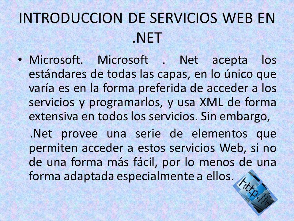 INTRODUCCION DE SERVICIOS WEB EN.NET Microsoft. Microsoft. Net acepta los estándares de todas las capas, en lo único que varía es en la forma preferid