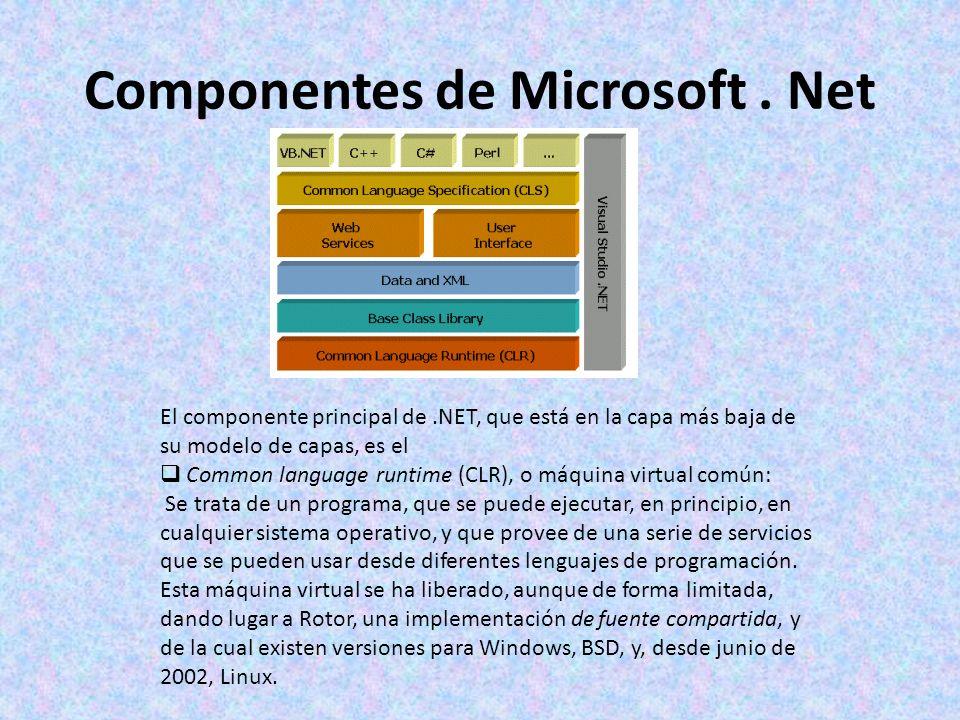 Componentes de Microsoft. Net El componente principal de.NET, que está en la capa más baja de su modelo de capas, es el Common language runtime (CLR),