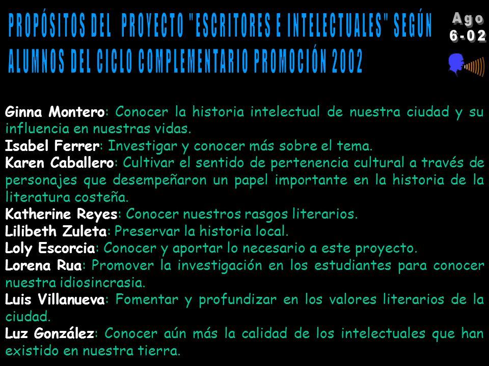 Alba Escorcia: Publicar escritos sobre temas intelectuales y dar la oportunidad al estudiante de ser crítico con dichos temas. Además, conocer trabajo