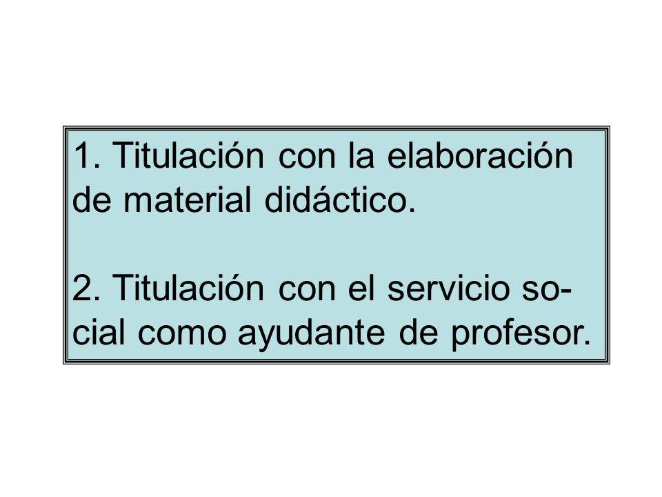 1. Titulación con la elaboración de material didáctico. 2. Titulación con el servicio so- cial como ayudante de profesor.