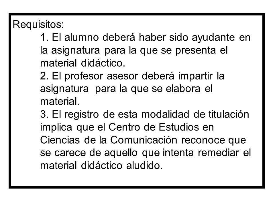 Requisitos: 1. El alumno deberá haber sido ayudante en la asignatura para la que se presenta el material didáctico. 2. El profesor asesor deberá impar