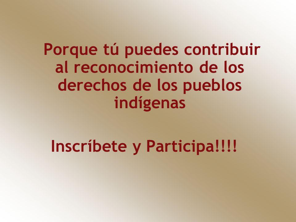 Porque tú puedes contribuir al reconocimiento de los derechos de los pueblos indígenas Inscríbete y Participa!!!!