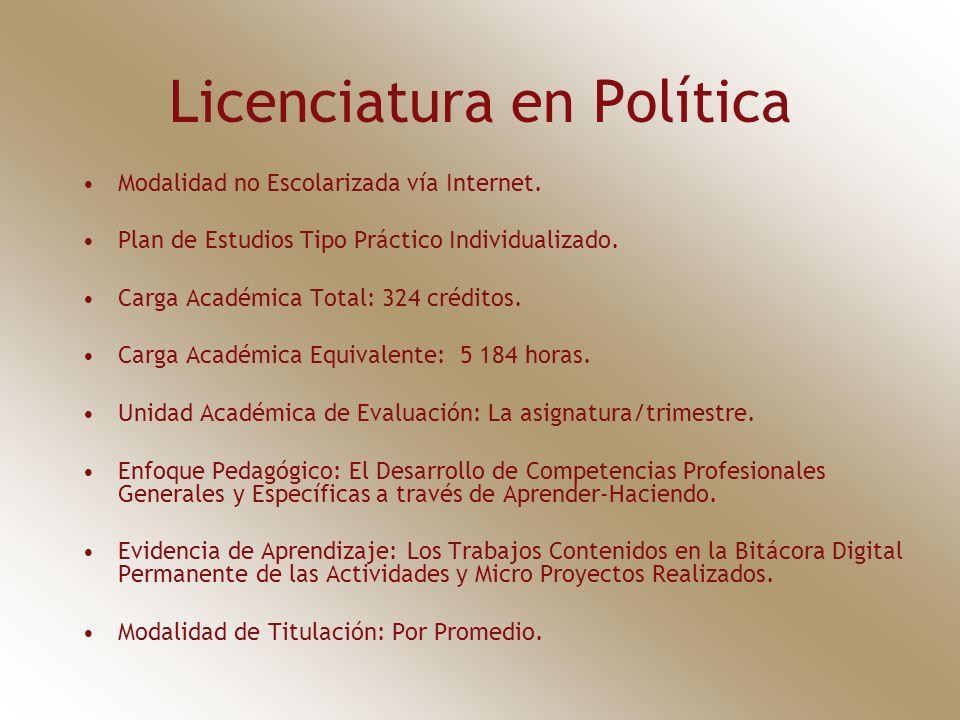 Licenciatura en Política Modalidad no Escolarizada vía Internet. Plan de Estudios Tipo Práctico Individualizado. Carga Académica Total: 324 créditos.