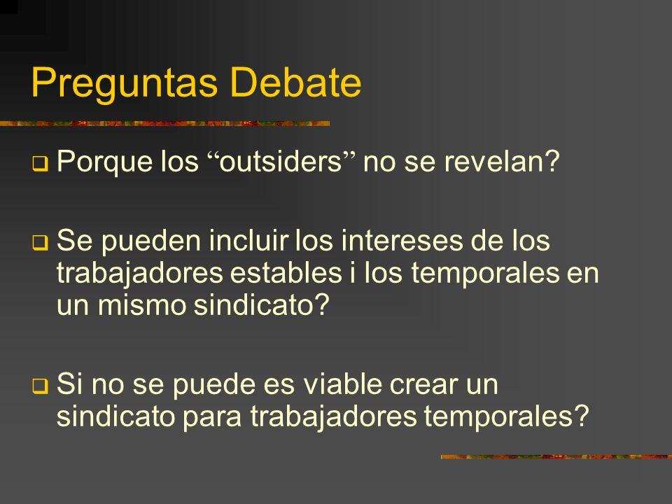 Preguntas Debate Porque los outsiders no se revelan.