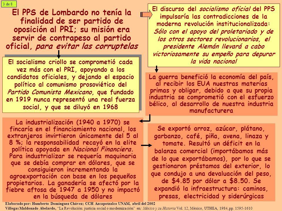 El PPS de Lombardo no tenía la finalidad de ser partido de oposición al PRI; su misión era servir de contrapeso al partido oficial, para evitar las co