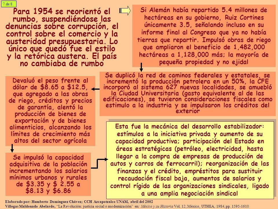 Para 1954 se reorientó el rumbo, suspendiéndose las denuncias sobre corrupción, el control sobre el comercio y la austeridad presupuestaria. Lo único