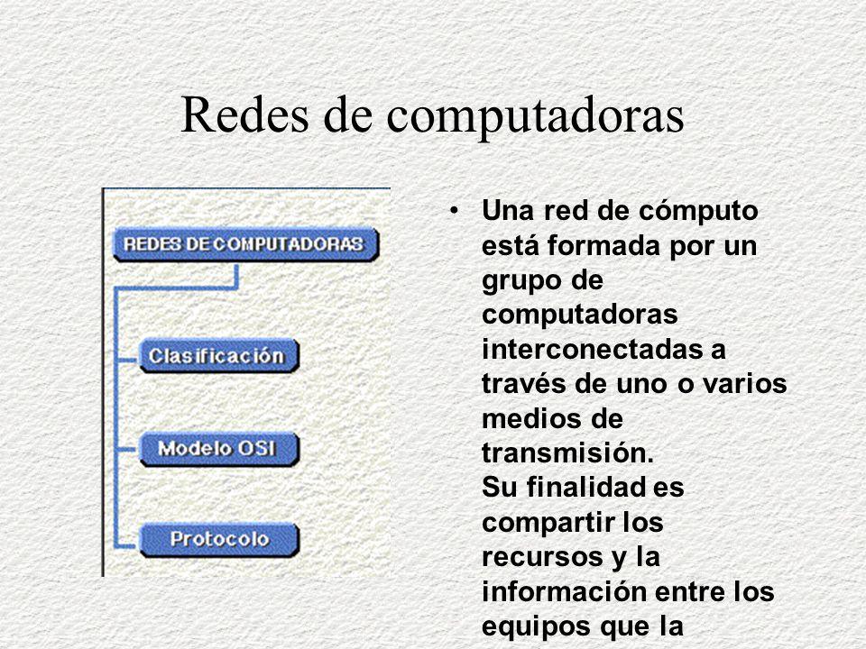 Redes de computadoras Una red de cómputo está formada por un grupo de computadoras interconectadas a través de uno o varios medios de transmisión.