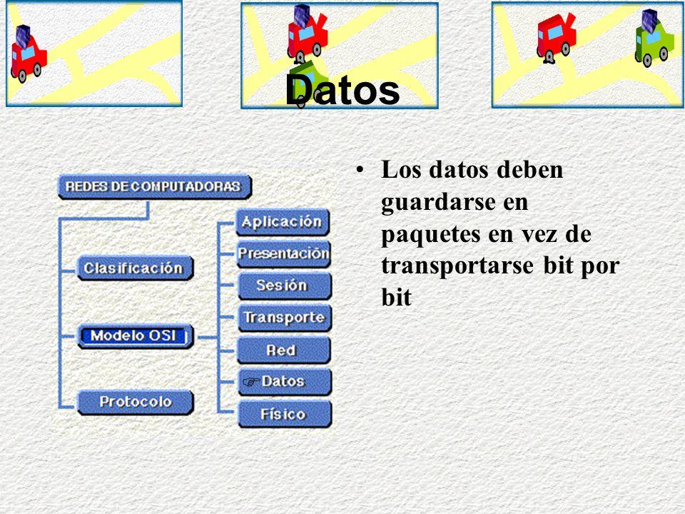 Red Los datos deben de ser separados de otros datos que se estén transportando