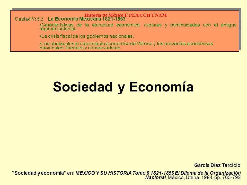 García Díaz Tarcicio Sociedad y economía en: MEXICO Y SU HISTORIA Tomo 6 1821-1855 El Dilema de la Organización Nacional, México, Uteha, 1984, pp.