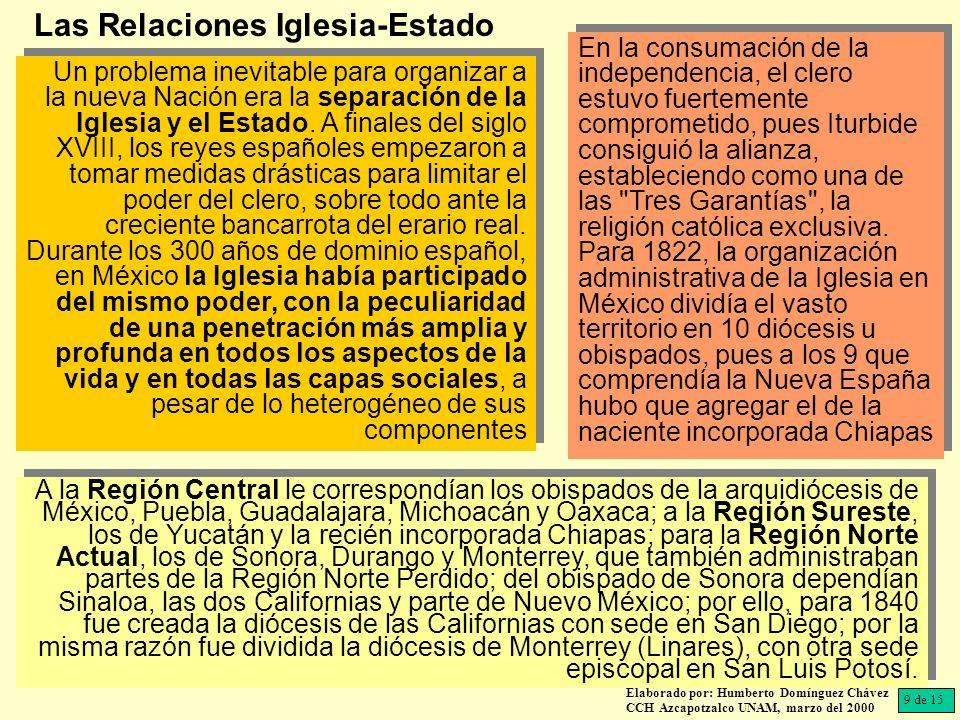 Elaborado por: Humberto Domínguez Chávez CCH Azcapotzalco UNAM, marzo del 2000 Un problema inevitable para organizar a la nueva Nación era la separación de la Iglesia y el Estado.