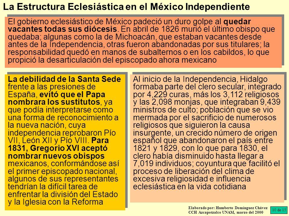 El gobierno eclesiástico de México padeció un duro golpe al quedar vacantes todas sus diócesis. En abril de 1826 murió el último obispo que quedaba; a