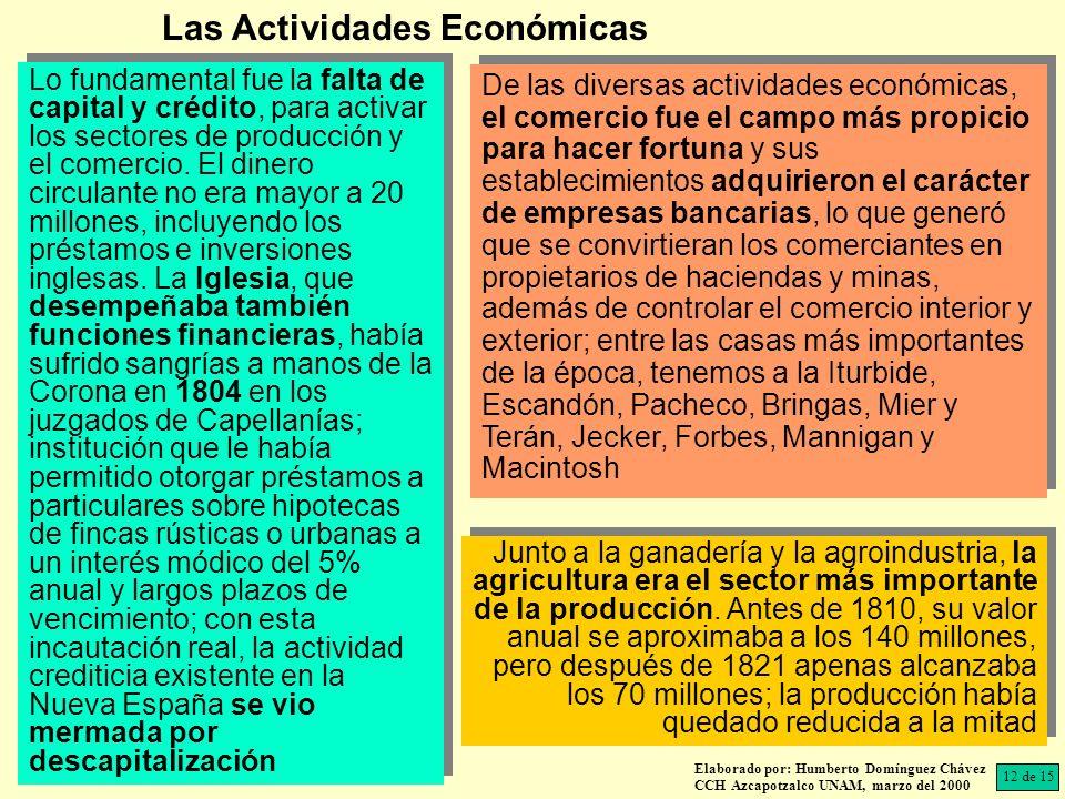 Elaborado por: Humberto Domínguez Chávez CCH Azcapotzalco UNAM, marzo del 2000 Lo fundamental fue la falta de capital y crédito, para activar los sectores de producción y el comercio.