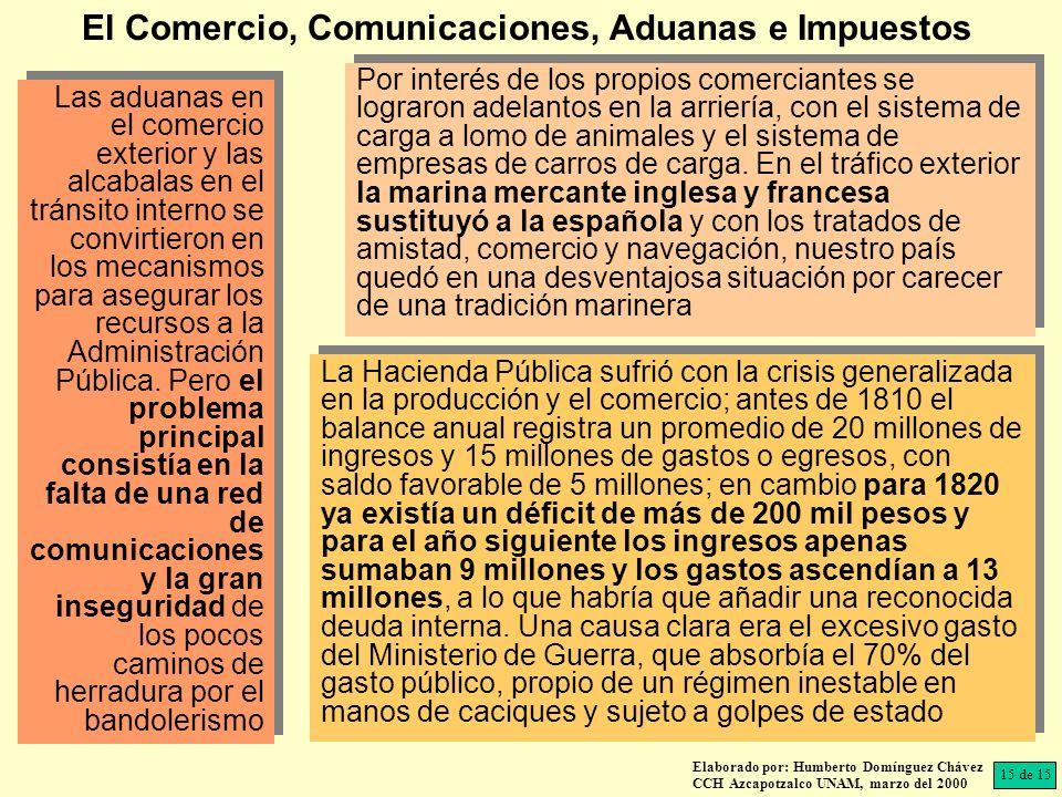 Elaborado por: Humberto Domínguez Chávez CCH Azcapotzalco UNAM, marzo del 2000 Las aduanas en el comercio exterior y las alcabalas en el tránsito interno se convirtieron en los mecanismos para asegurar los recursos a la Administración Pública.