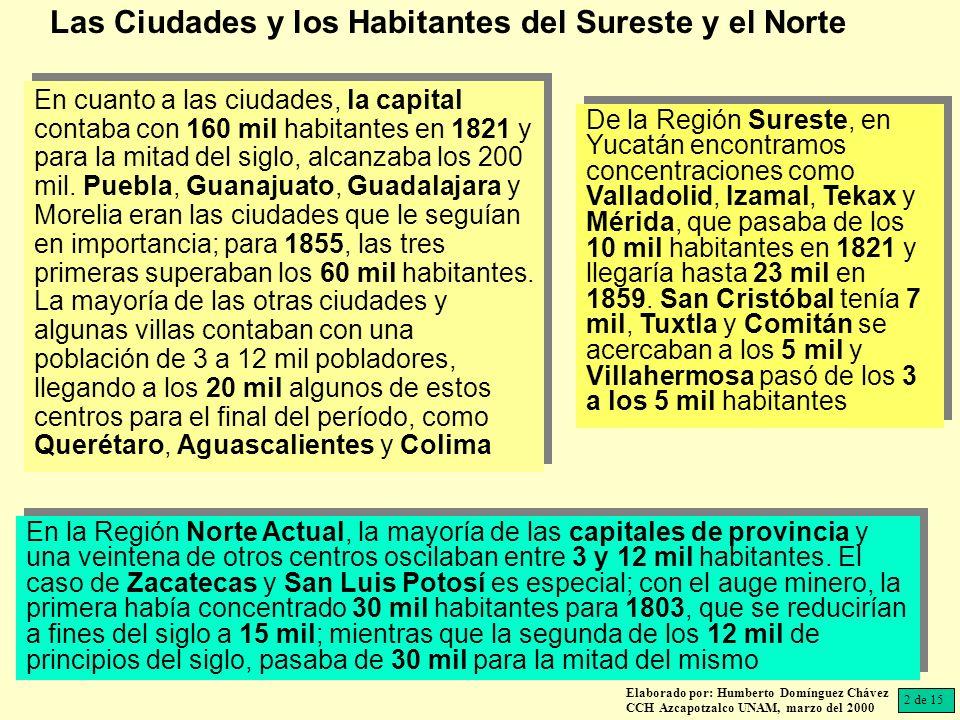 En la Región Norte Actual, la mayoría de las capitales de provincia y una veintena de otros centros oscilaban entre 3 y 12 mil habitantes.