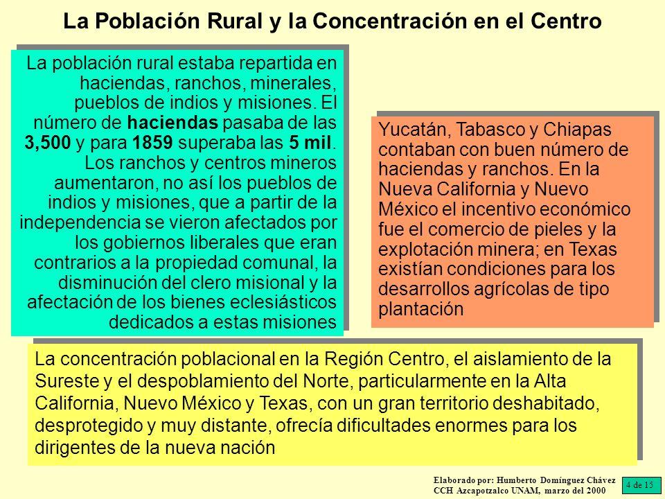 Elaborado por: Humberto Domínguez Chávez CCH Azcapotzalco UNAM, marzo del 2000 La población rural estaba repartida en haciendas, ranchos, minerales, pueblos de indios y misiones.