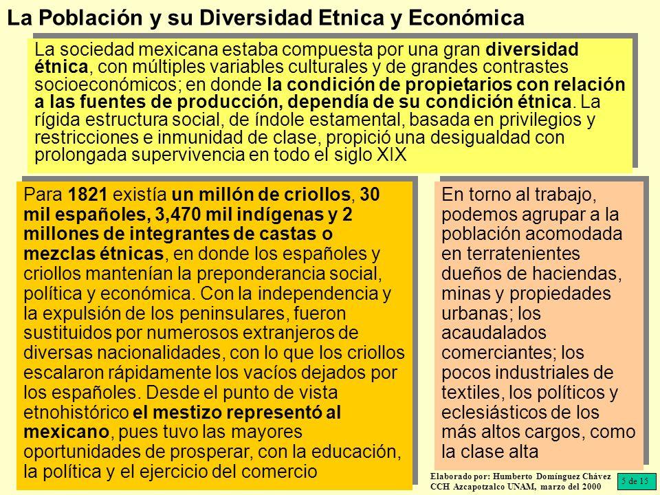 La sociedad mexicana estaba compuesta por una gran diversidad étnica, con múltiples variables culturales y de grandes contrastes socioeconómicos; en donde la condición de propietarios con relación a las fuentes de producción, dependía de su condición étnica.