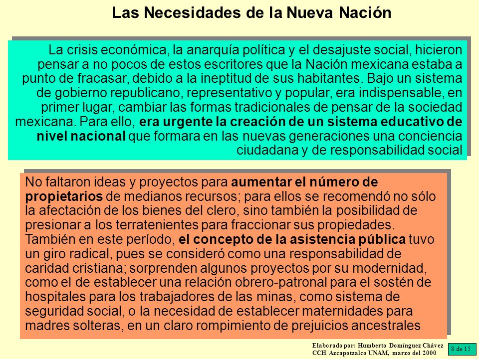 Elaborado por: Humberto Domínguez Chávez CCH Azcapotzalco UNAM, marzo del 2000 La crisis económica, la anarquía política y el desajuste social, hicieron pensar a no pocos de estos escritores que la Nación mexicana estaba a punto de fracasar, debido a la ineptitud de sus habitantes.