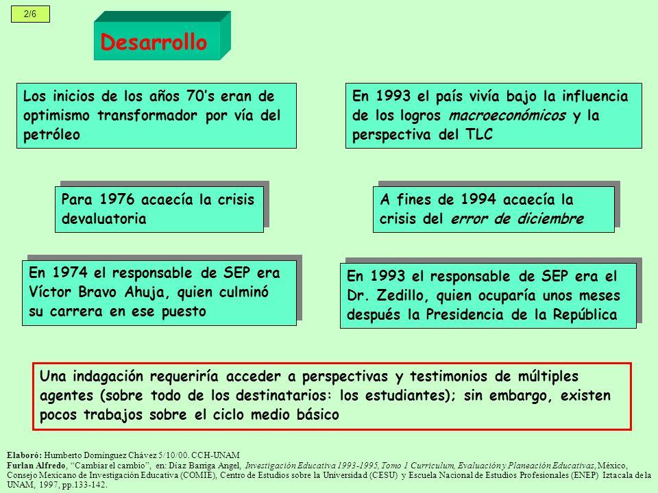 2/6 Los inicios de los años 70s eran de optimismo transformador por vía del petróleo Desarrollo Para 1976 acaecía la crisis devaluatoria En 1993 el país vivía bajo la influencia de los logros macroeconómicos y la perspectiva del TLC A fines de 1994 acaecía la crisis del error de diciembre En 1974 el responsable de SEP era Víctor Bravo Ahuja, quien culminó su carrera en ese puesto En 1993 el responsable de SEP era el Dr.