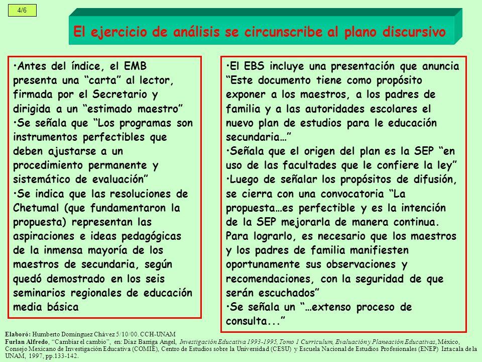 4/6 El ejercicio de análisis se circunscribe al plano discursivo Antes del índice, el EMB presenta una carta al lector, firmada por el Secretario y di