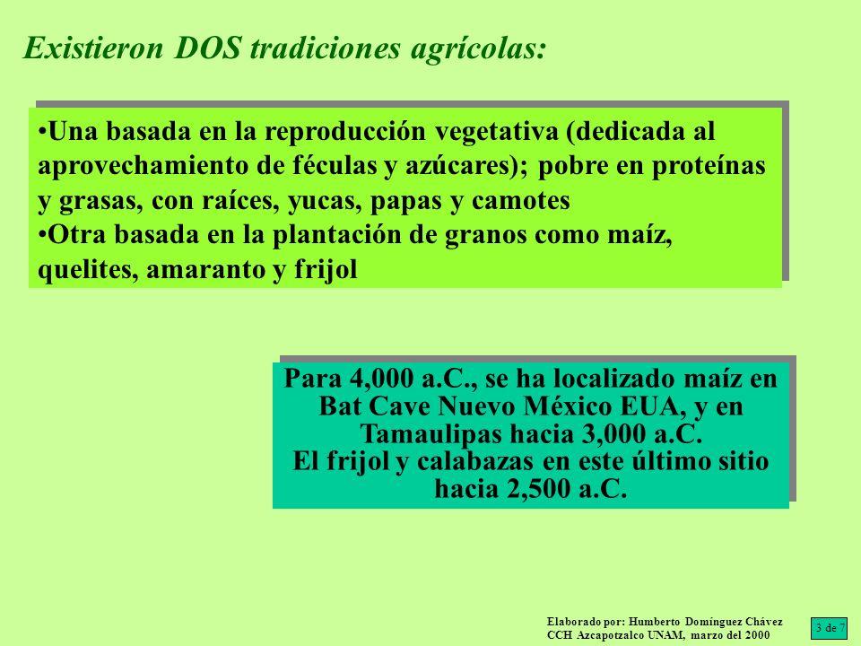 Existieron DOS tradiciones agrícolas: Para 4,000 a.C., se ha localizado maíz en Bat Cave Nuevo México EUA, y en Tamaulipas hacia 3,000 a.C. El frijol