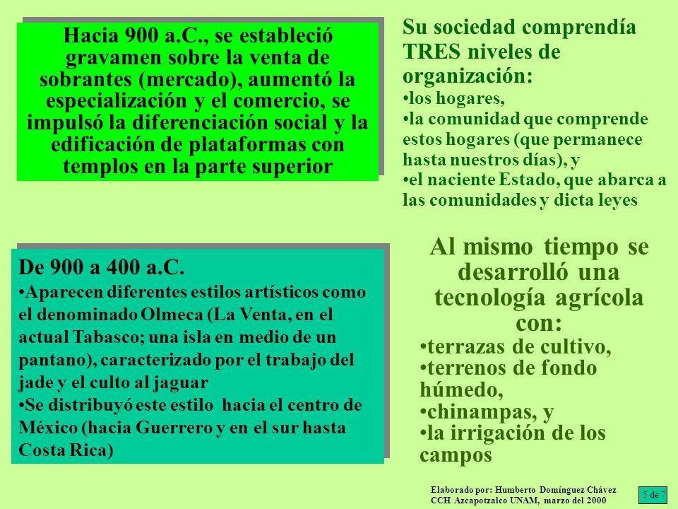 De 900 a 400 a.C. Aparecen diferentes estilos artísticos como el denominado Olmeca (La Venta, en el actual Tabasco; una isla en medio de un pantano),