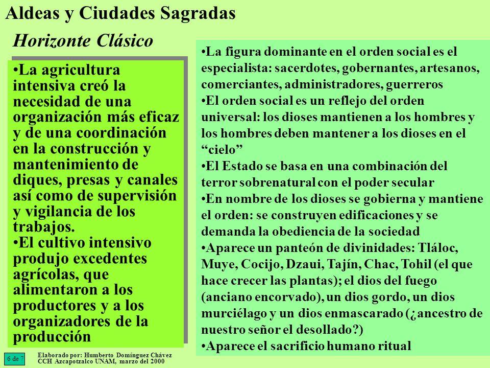 Los mayas de las Tierras Bajas, realizaron cálculos a partir de una fecha era imaginaria (3133 a.C.); integraron unidades de tiempo en una cuenta larga (20 kins = 1 uinal; 18 uinales = 1 tun; 20 tuns = 1 katun; 20 katuns = 1 baktun Se desarrolló la escritura pictográfica (estatua de Tuxtla fechada en el 162 d.C.) y fonética (Monte Alban II) Florecimiento de las artes (estilo mexicano y maya) en verdaderas urbes: Teotihuacán, Cholula, Tikal, Monte Alban, Tajín, Xochicalco Se manifiestan influencias culturales a lo largo de Mesoamérica, de los diversos estilos artísticos en: arquitectura, pintura, cerámica, lapidaria Se desarrolló la escritura pictográfica (estatua de Tuxtla fechada en el 162 d.C.) y fonética (Monte Alban II) Florecimiento de las artes (estilo mexicano y maya) en verdaderas urbes: Teotihuacán, Cholula, Tikal, Monte Alban, Tajín, Xochicalco Se manifiestan influencias culturales a lo largo de Mesoamérica, de los diversos estilos artísticos en: arquitectura, pintura, cerámica, lapidaria Aparece el sacrificio humano ritual Se desarrolla el calendario (tonalpohualli - tzolkin, que combina 13 númerosX20 signos (cocodrilo, viento, caña, casa, etc.) = 260 días Un calendario solar de 365 días (18 meses de 20 días+5 días funestos).