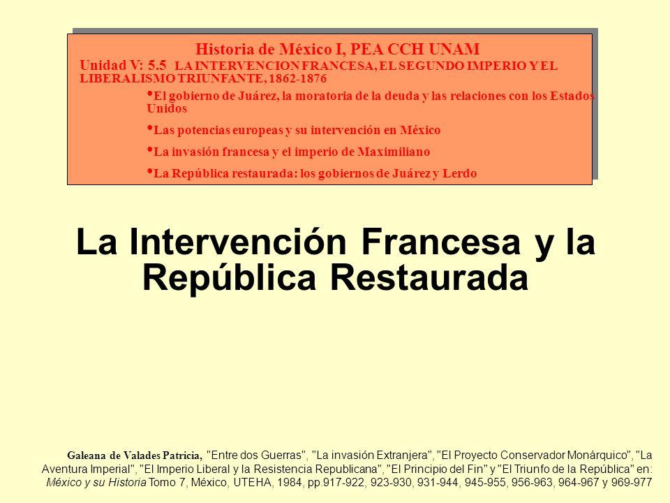 Juárez recuperó la capital y fue reconocido por el Congreso como Presidente (había ocupado el interinato desde la renuncia de Comonfort en 1857); su primer acto de gobierno fue ordenar la expulsión de los extranjeros intervencionistas, entre ellos el delegado apostólico, el arzobispo y algunos obispos, los embajadores de España, Guatemala y Ecuador, al mismo tiempo que recibía a los embajadores de Inglaterra, Francia y Prusia Elaborado por: Humberto Domínguez Chávez CCH Azcapotzalco UNAM, marzo del 2000 Enfrentó a las secuelas de la guerra, con un país sin recursos y acosado por los acreedores, con lo que estableció la reducción de aranceles para impulsar el comercio, suprimió las alcabalas o aduanas internas y acuñó monedas de cobre, y por último, lo más grave, se suspendió el pago de la deuda externa por decreto del 17 de junio de 1861, que causó el rompimiento de relaciones con Inglaterra y Francia, a los que se unió España, que no reconocía al gobierno juarista 1 de 8 Los problemas del liberalismo triunfante Los conservadores, ahora dirigidos por Zuloaga, Márquez y Mejía continuaron una guerra de guerrillas, apoyados en la insurrección indígena de Manuel Lozada, cometiendo asesinatos entre ellos los de Melchor Ocampo, Santos Degollado y Leandro Valle