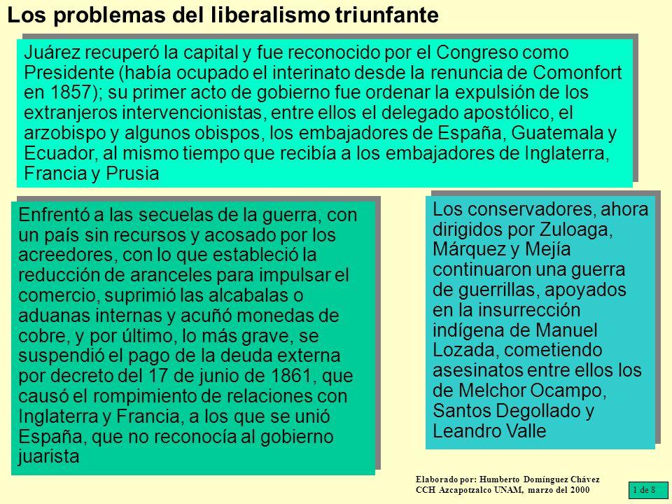 Juárez recuperó la capital y fue reconocido por el Congreso como Presidente (había ocupado el interinato desde la renuncia de Comonfort en 1857); su p