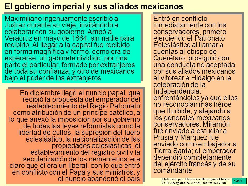 Los obispos de México, Michoacán, Oaxaca, Querétaro y Tulancingo escribieron un manifiesto oponiéndose a las leyes imperiales liberales, a lo que Maximiliano contestó que sus actos sólo los juzgaría Dios.