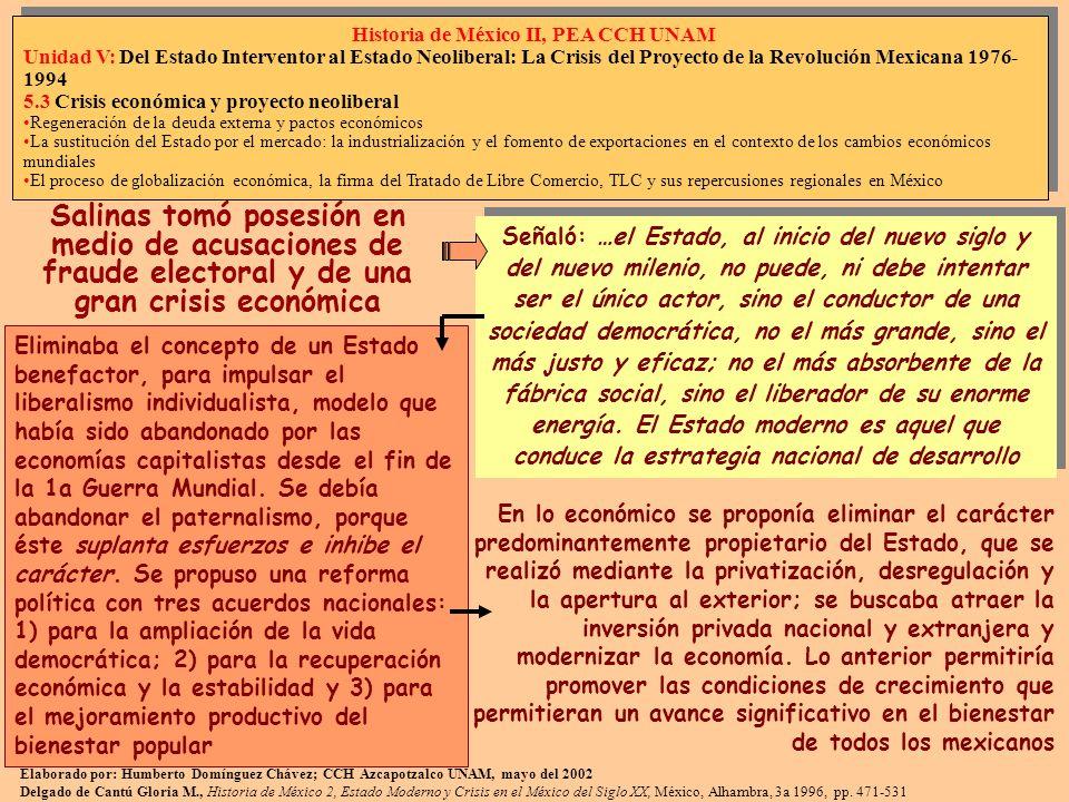 En 1990 se creó la Comisión Nacional de Derechos Humanos, CNDH, y una reforma electoral que modificó el colegio electoral, el nuevo Tribunal Federal Electoral, TRIFE, y se aprobó el Código Federal de Instituciones y Procedimientos Electorales, COFIPE La CNDH se respaldó en 1992 por la reforma a la Ley Federal de Responsabilidades de los Servidores Públicos, para obligarlos a rendir informes, con exclusión de las materias electoral, laboral y jurisdiccional La creación del TRIFE, el tope en 350 diputados electos para la participación de un partido y la creación del Instituto Federal Electoral, IFE, integrado por representantes de los partidos existentes, como responsable de organizar las elecciones y vigilar el financiamiento y las campañas, buscaban restituir credibilidad a los procesos La reforma del Estado incluyó las relaciones con las iglesias, reconociéndoles su personalidad jurídica, así como de la ciudadanía para los ministros de culto, pudiendo votar pero no ser votados 2 de 7 Elaborado por: Humberto Domínguez Chávez; CCH Azcapotzalco UNAM, mayo del 2002 Delgado de Cantú Gloria M., Historia de México 2, Estado Moderno y Crisis en el México del Siglo XX, México, Alhambra, 3a 1996, pp.