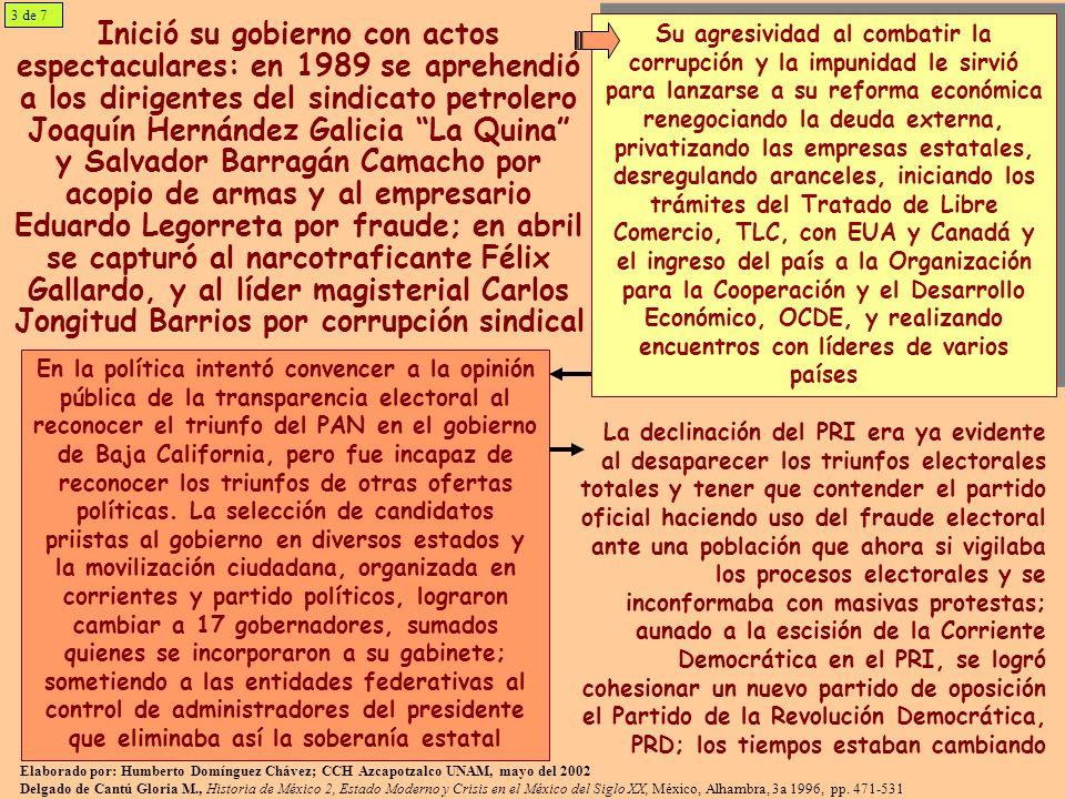 Inició su gobierno con actos espectaculares: en 1989 se aprehendió a los dirigentes del sindicato petrolero Joaquín Hernández Galicia La Quina y Salva