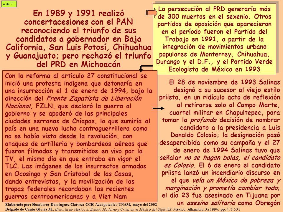 En 1989 y 1991 realizó concertacesiones con el PAN reconociendo el triunfo de sus candidatos a gobernador en Baja California, San Luis Potosí, Chihuahua y Guanajuato; pero rechazó el triunfo del PRD en Michoacán La persecución al PRD generaría más de 300 muertos en el sexenio.