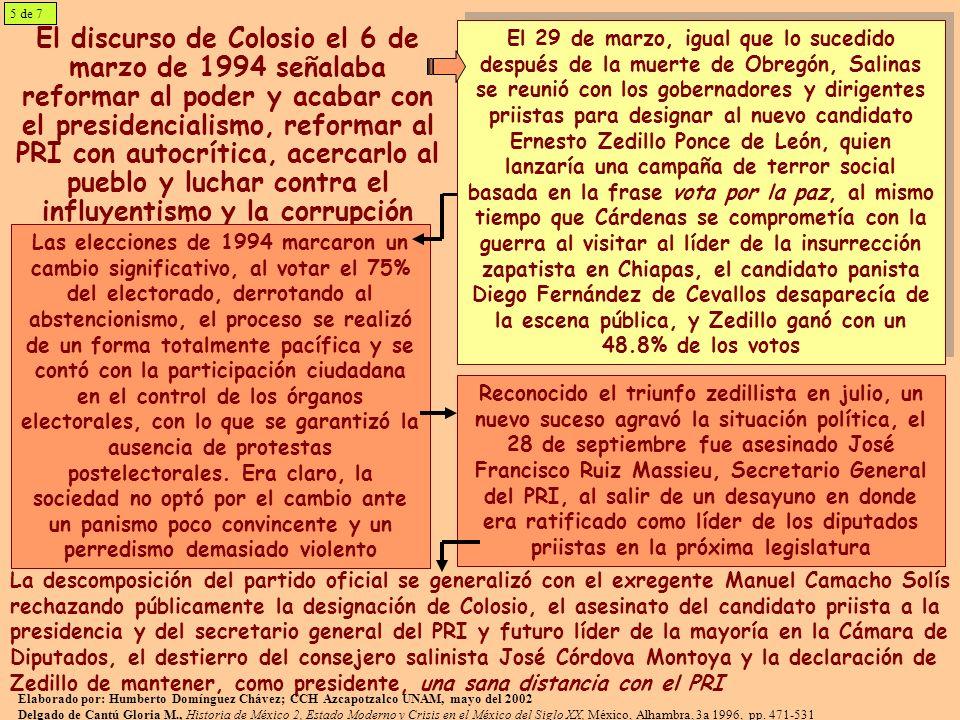 El discurso de Colosio el 6 de marzo de 1994 señalaba reformar al poder y acabar con el presidencialismo, reformar al PRI con autocrítica, acercarlo al pueblo y luchar contra el influyentismo y la corrupción El 29 de marzo, igual que lo sucedido después de la muerte de Obregón, Salinas se reunió con los gobernadores y dirigentes priistas para designar al nuevo candidato Ernesto Zedillo Ponce de León, quien lanzaría una campaña de terror social basada en la frase vota por la paz, al mismo tiempo que Cárdenas se comprometía con la guerra al visitar al líder de la insurrección zapatista en Chiapas, el candidato panista Diego Fernández de Cevallos desaparecía de la escena pública, y Zedillo ganó con un 48.8% de los votos El 29 de marzo, igual que lo sucedido después de la muerte de Obregón, Salinas se reunió con los gobernadores y dirigentes priistas para designar al nuevo candidato Ernesto Zedillo Ponce de León, quien lanzaría una campaña de terror social basada en la frase vota por la paz, al mismo tiempo que Cárdenas se comprometía con la guerra al visitar al líder de la insurrección zapatista en Chiapas, el candidato panista Diego Fernández de Cevallos desaparecía de la escena pública, y Zedillo ganó con un 48.8% de los votos Las elecciones de 1994 marcaron un cambio significativo, al votar el 75% del electorado, derrotando al abstencionismo, el proceso se realizó de un forma totalmente pacífica y se contó con la participación ciudadana en el control de los órganos electorales, con lo que se garantizó la ausencia de protestas postelectorales.