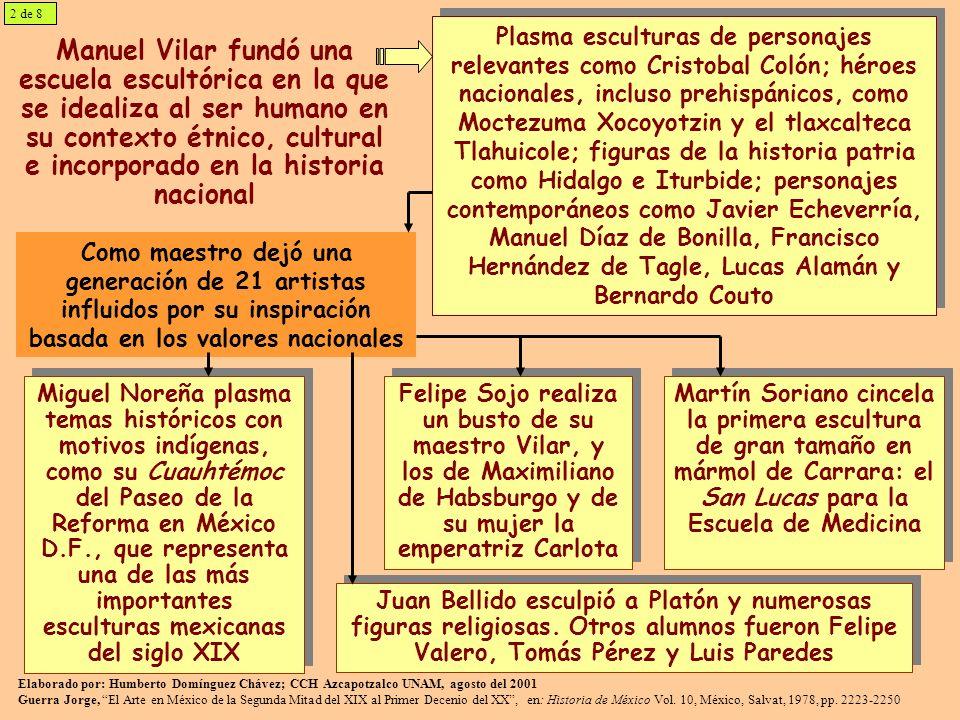 Manuel Vilar fundó una escuela escultórica en la que se idealiza al ser humano en su contexto étnico, cultural e incorporado en la historia nacional P