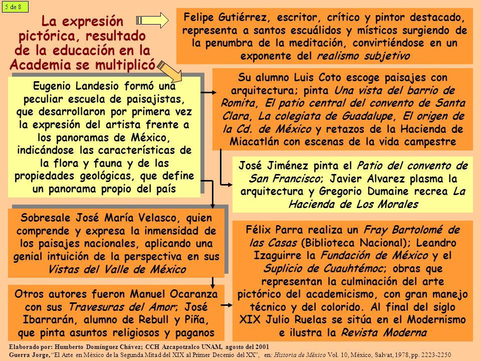 La expresión pictórica, resultado de la educación en la Academia se multiplicó Felipe Gutiérrez, escritor, crítico y pintor destacado, representa a sa