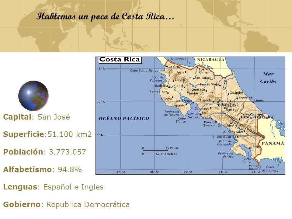 Hablemos un poco de Costa Rica… Capital: San José Superficie:51.100 km2 Población: 3.773.057 Alfabetismo: 94.8% Lenguas: Español e Ingles Gobierno: Re