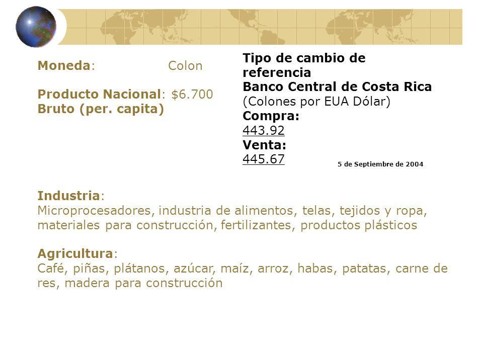 Moneda: Colon Producto Nacional: $6.700 Bruto (per. capita) Industria: Microprocesadores, industria de alimentos, telas, tejidos y ropa, materiales pa