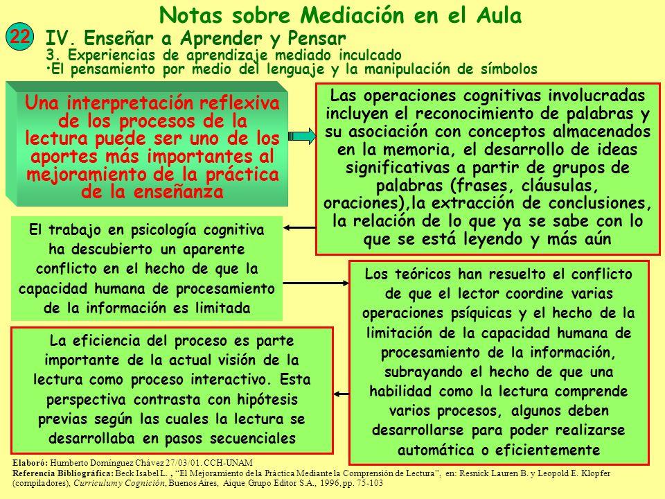 2/7 La posición interactiva supone que la información de lo impreso y del terreno conceptual actúan simultáneamente y se influyen entre sí Mientras percibimos la información visual del texto, recurrimos a varias fuentes de conocimiento, que incluyen la conciencia de las correspondencias letra-sonido y de los patrones ortográficos, el conocimiento del significado de las palabras, el conocimiento de las posibilidades sintácticas y de los patrones del lenguaje y la memoria del contexto precedente Un punto que se enfatiza en la actual perspectiva sobre la lectura, es que la comprensión es constructiva porque al significado de un texto lo construye el lector, no se extrae de las páginas Elaboró: Humberto Domínguez Chávez 27/03/01.