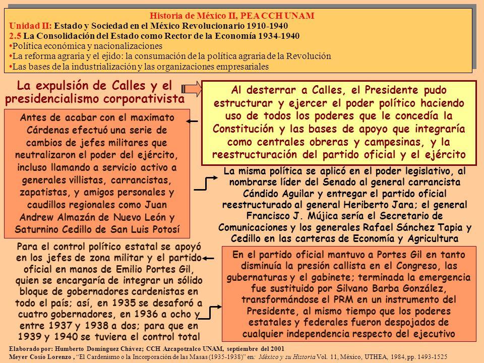 Política de masas: reparto agrario, la defensa de los trabajadores y el frente popular En 1935 se registraron 650 huelgas y 675 al siguiente año, mientras que la UGOCM se transformó en 1936 en la CTM, que se propuso como meta final la transformación del país al socialismo; para lograrlo se planteó en lo inmediato el cabal cumplimiento del artículo 123o constitucional, lo que permitió la integración de un frente popular formado por el reestructurado PRM el 30 de marzo de 1938, que incluía a la CCM, la CTM, la burocracia y el sector popular, y el militar El Partido de la Revolución Mexicana, PRM, se integraba como el instrumento del Presidente, los sectores que lo integraban negociaban con él, dirigiendo el Ejecutivo Federal al país en nombre de los intereses populares que estaban integrados al partido en forma corporativa; los intereses fuera del partido oficial podían existir, pero subordinados a él 2 de 5 El sector campesino fue el más difícil de integrar debido a su dispersión; en 1935 mediante un decreto el Presidente ordenó al PRM organizar una nueva central campesina a partir de las Ligas de Comunidades Agrarias estatales; con lo que los beneficiarios de la reestructuración del campo, y población mayoritaria, quedaban sujetos directamente a las decisiones presidenciales, que tenían como objetivo la socialización de la tierra La CNC integraría a 3 millones de campesinos, con lo que se convirtió en el sector popular más poderoso del PRM bajo la dirección de Graciano Sánchez, con lo que se procedió al reparto agrario que alcanzó 18 millones de hectáreas Después de enfrentar al sector empresarial encabezado por el grupo de Monterrey durante las huelgas de 1936, se decidió integrar a la Confederación de Cámaras Industriales, CONCAMIN y la Confederación de Cámaras Nacionales de Comercio, CONCANACO, en una sola la Confederación de Cámaras Nacionales de Comercio e Industria, para la interlocución del capital con el gobierno, a través de la Secretaría de la Economía Nac