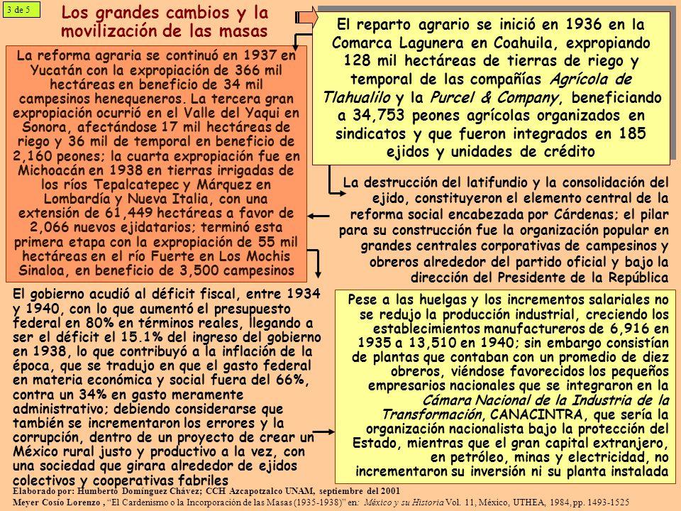 La movilización de las masas Tres fueron los movimientos obreros más importantes durante el cardenismo: el conflicto ferrocarrilero, el de los trabajadores agrícolas de La Laguna en Coahuila y la de los trabajadores del petróleo Las huelgas obreras fueron aprovechadas e impulsadas por el régimen, primero fueron el detonador para enfrentar a Calles y al mismo tiempo para lograr la aplicación del artículo 123o constitucional; así, de 1935 a 1938, año de creación de la CTM, se realizaron 2,225 huelgas que incorporaron a 339 mil trabajadores, que se redujeron, entre 1939 y 1940, a 660 huelgas en las que únicamente participaron 34.3 mil obreros; la integración y organización del movimiento obrero se había logrado alrededor del Presidente y el PRM 4 de 5 En todos las movilizaciones la acción del Estado concluyó con expropiaciones que afectó intereses extranjeros y benefició a los trabajadores.