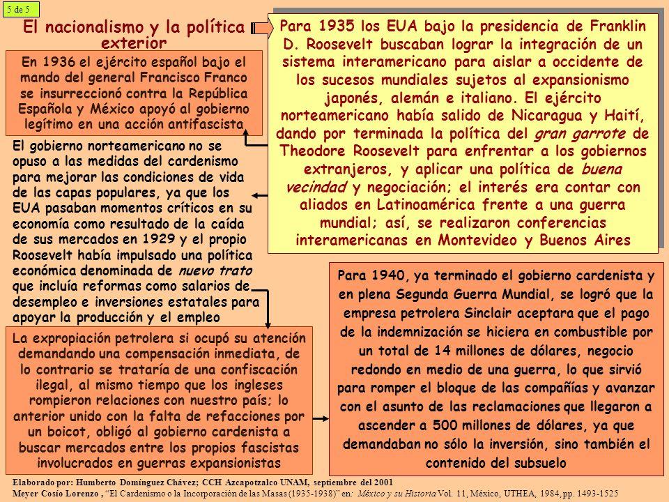 El nacionalismo y la política exterior En 1936 el ejército español bajo el mando del general Francisco Franco se insurreccionó contra la República Esp