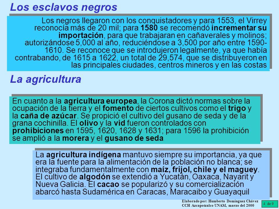 4 de 9 Elaborado por: Humberto Domínguez Chávez CCH Azcapotzalco UNAM, marzo del 2000 Los negros llegaron con los conquistadores y para 1553, el Virre