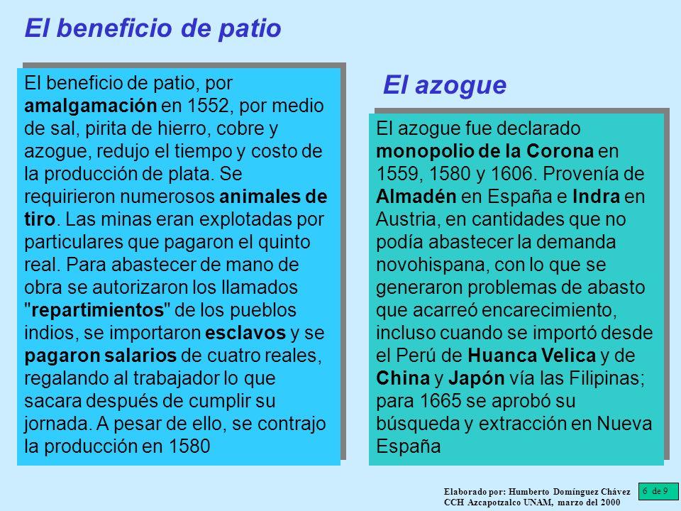 El beneficio de patio, por amalgamación en 1552, por medio de sal, pirita de hierro, cobre y azogue, redujo el tiempo y costo de la producción de plat
