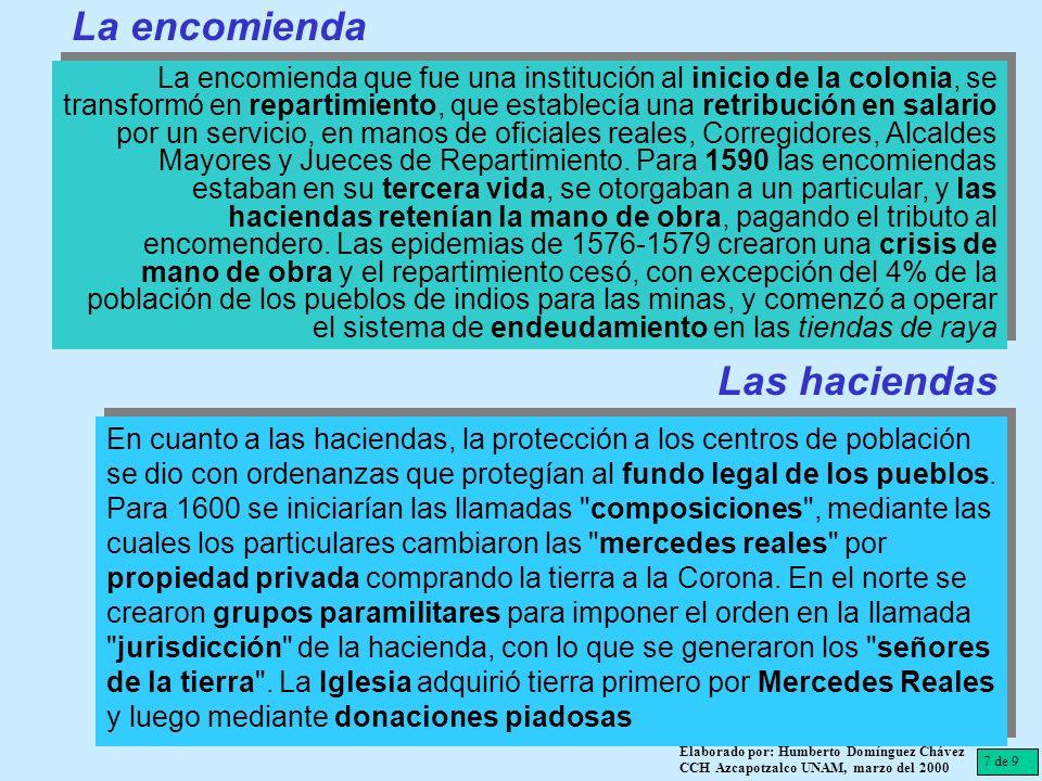 7 de 9 Elaborado por: Humberto Domínguez Chávez CCH Azcapotzalco UNAM, marzo del 2000 La encomienda que fue una institución al inicio de la colonia, s