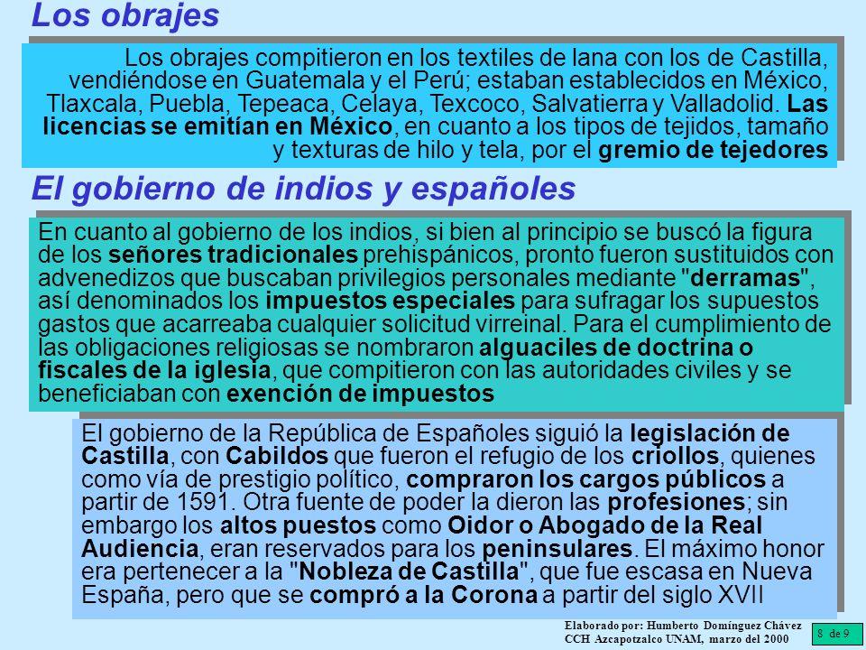 8 de 9 Elaborado por: Humberto Domínguez Chávez CCH Azcapotzalco UNAM, marzo del 2000 Los obrajes compitieron en los textiles de lana con los de Casti