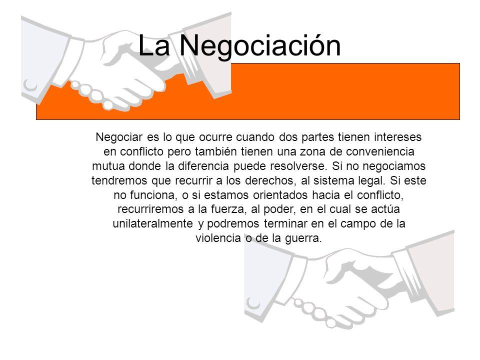 La Negociación Negociar es lo que ocurre cuando dos partes tienen intereses en conflicto pero también tienen una zona de conveniencia mutua donde la d