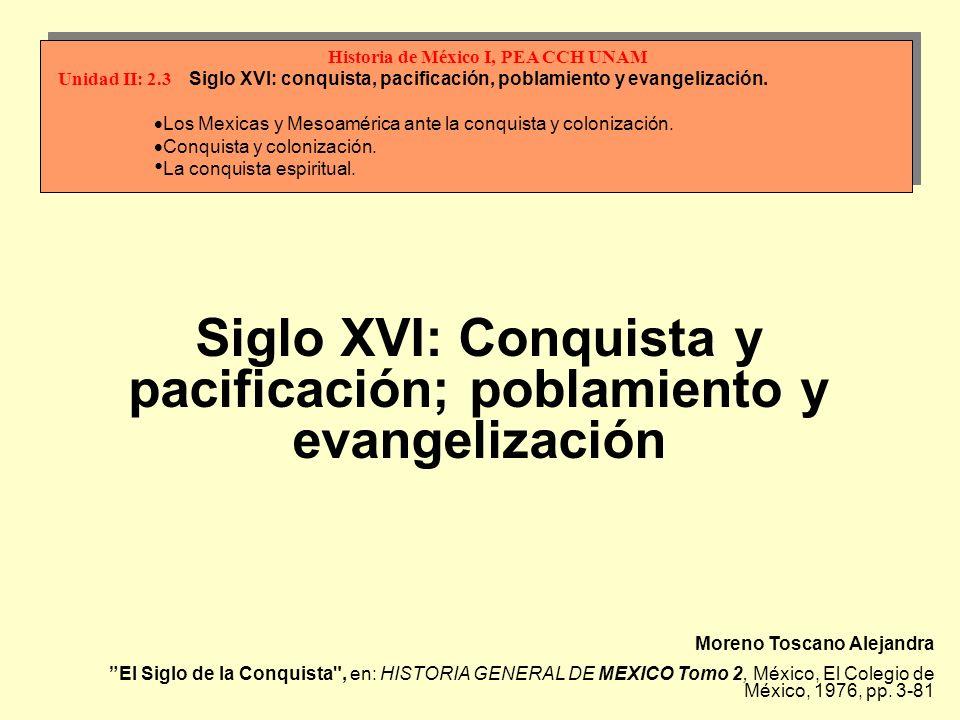 Moreno Toscano Alejandra El Siglo de la Conquista , en: HISTORIA GENERAL DE MEXICO Tomo 2, México, El Colegio de México, 1976, pp.