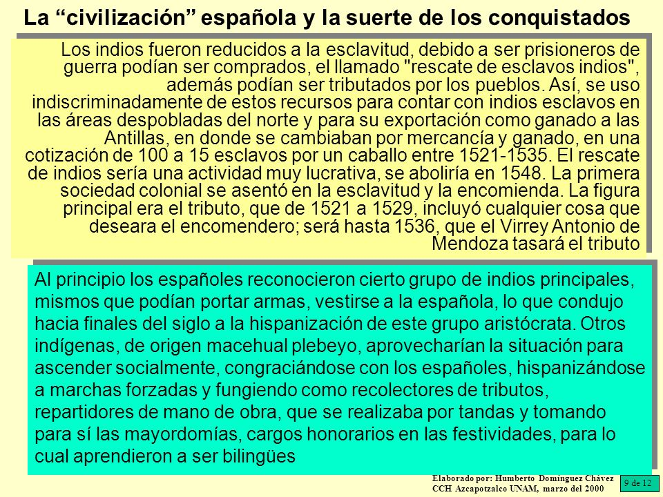 Elaborado por: Humberto Domínguez Chávez CCH Azcapotzalco UNAM, marzo del 2000 Los indios fueron reducidos a la esclavitud, debido a ser prisioneros de guerra podían ser comprados, el llamado rescate de esclavos indios , además podían ser tributados por los pueblos.